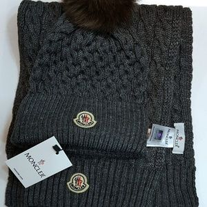 NWT MONCLER MEN'S HAT + SCARVES SET DARK GREY